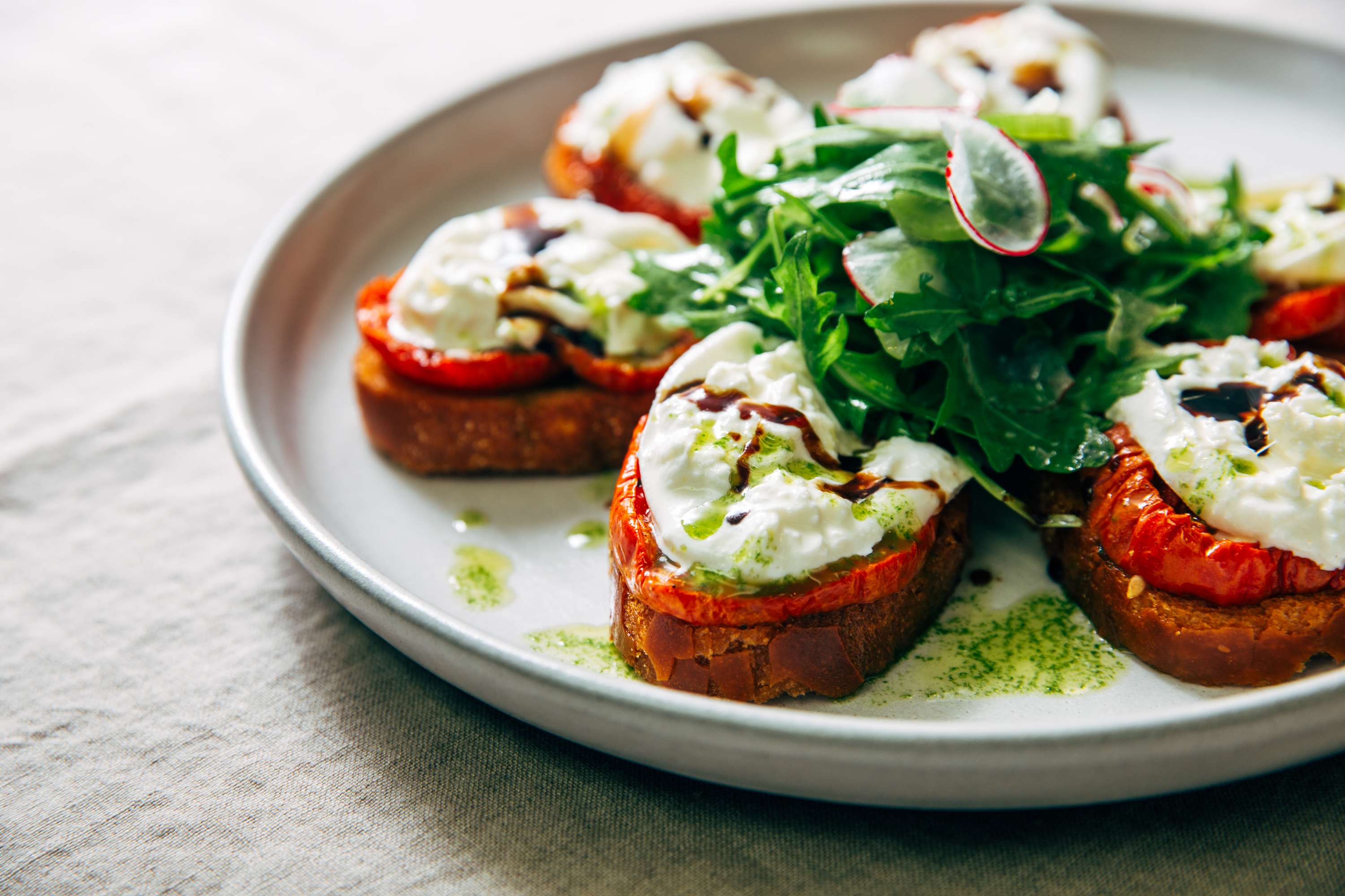 Reel Club's Buratta Bruschetta