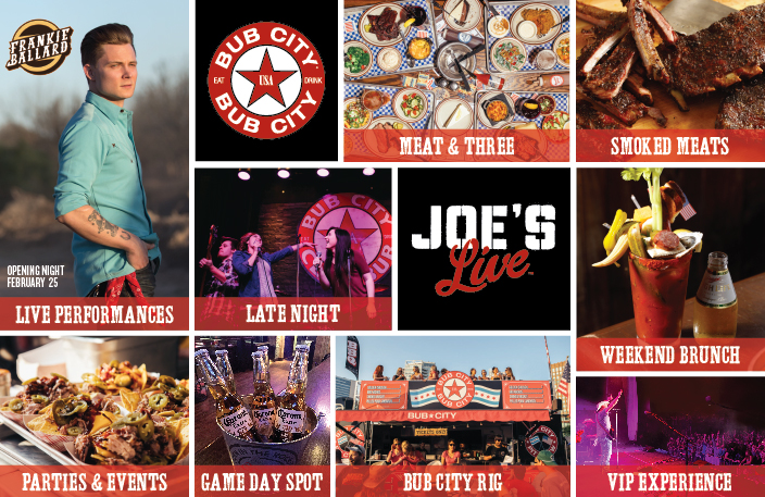 Bub City and Joe's Live Image that includes all of the things you can do at the restaurant