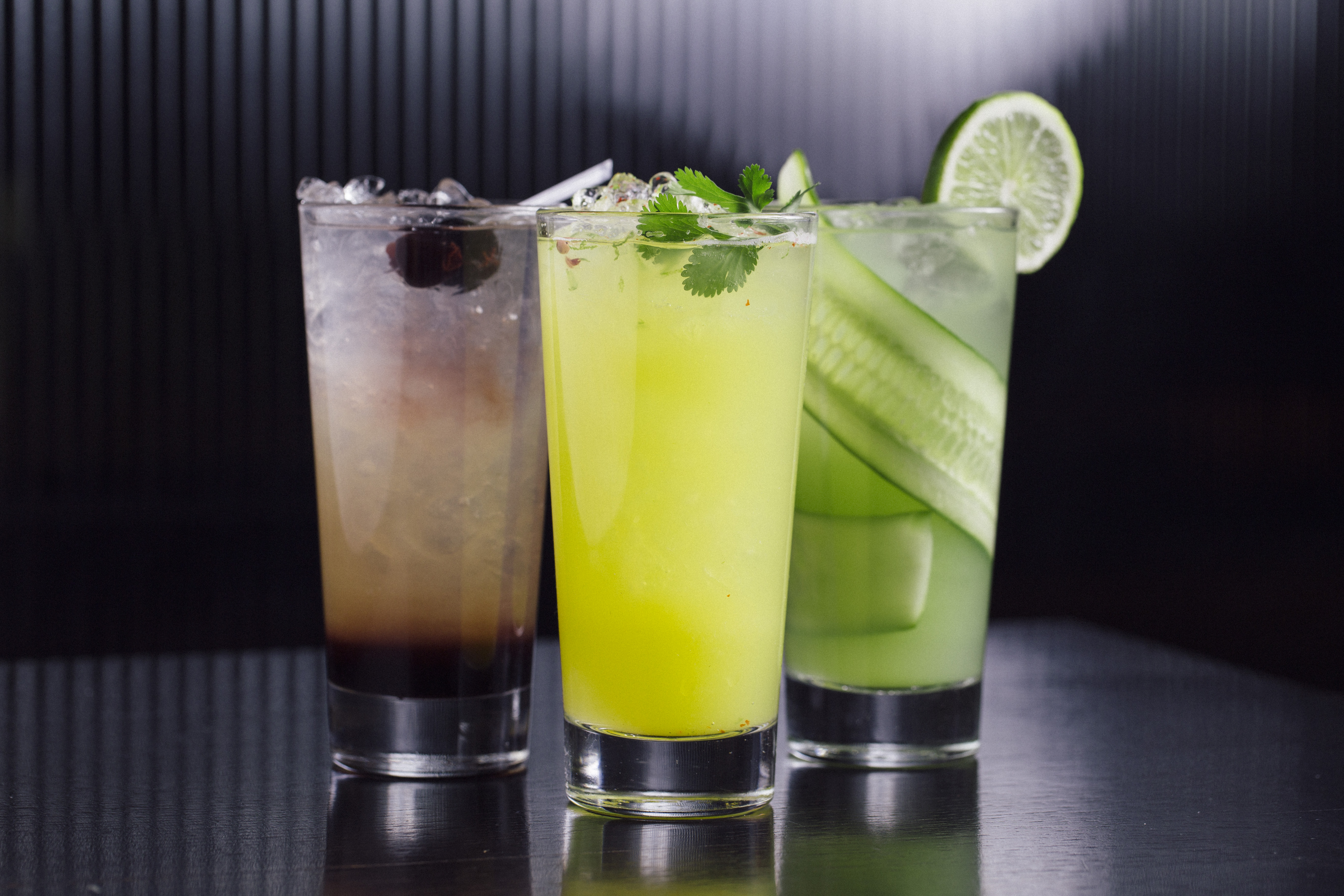 Three colorful mocktails from RPM Italian