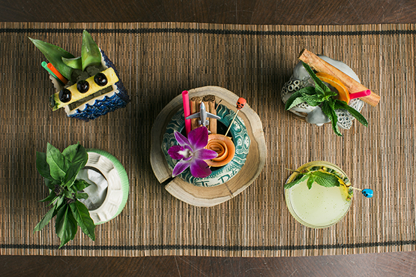 Overhead view of tiki cocktails
