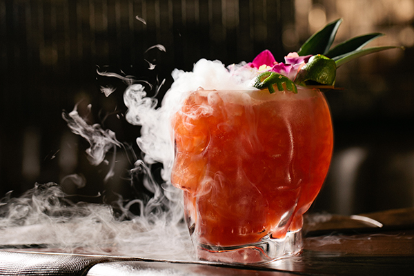 Dry ice smoking in a skull mug for cocktails