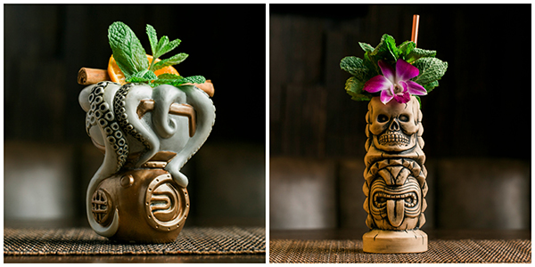 Two tiki cocktails side-by-side