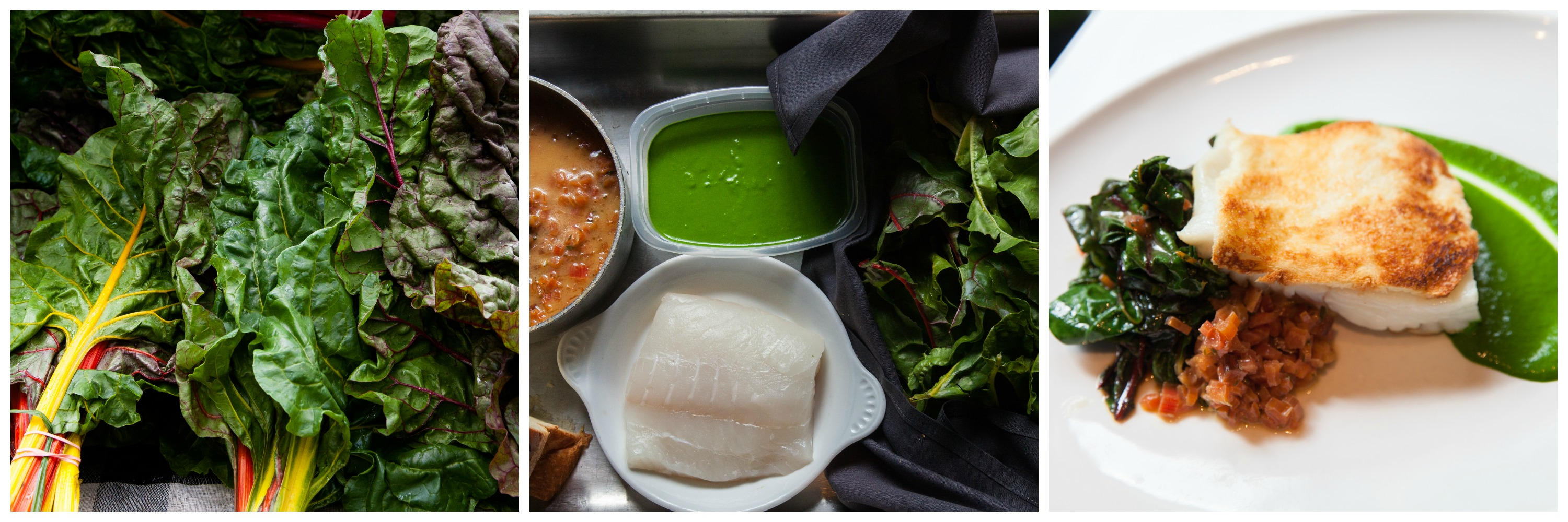 raw chard (left), ingredients to make a dish (middle) and composed dish (right)