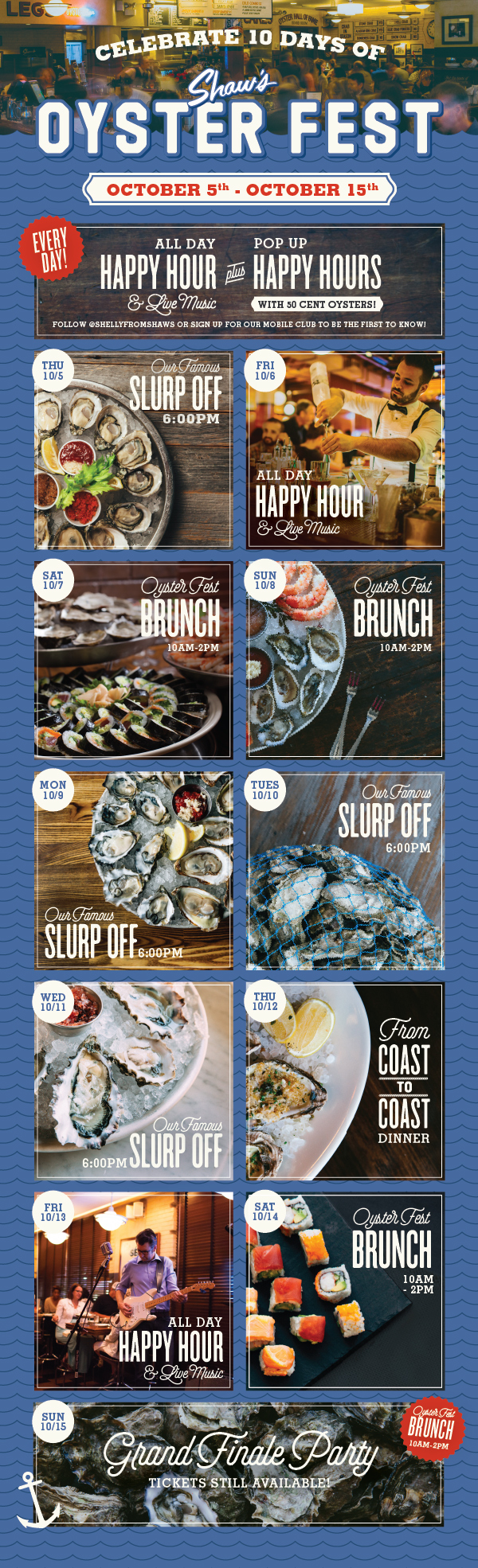 The Oyster Fest's scheudle in a graphic form
