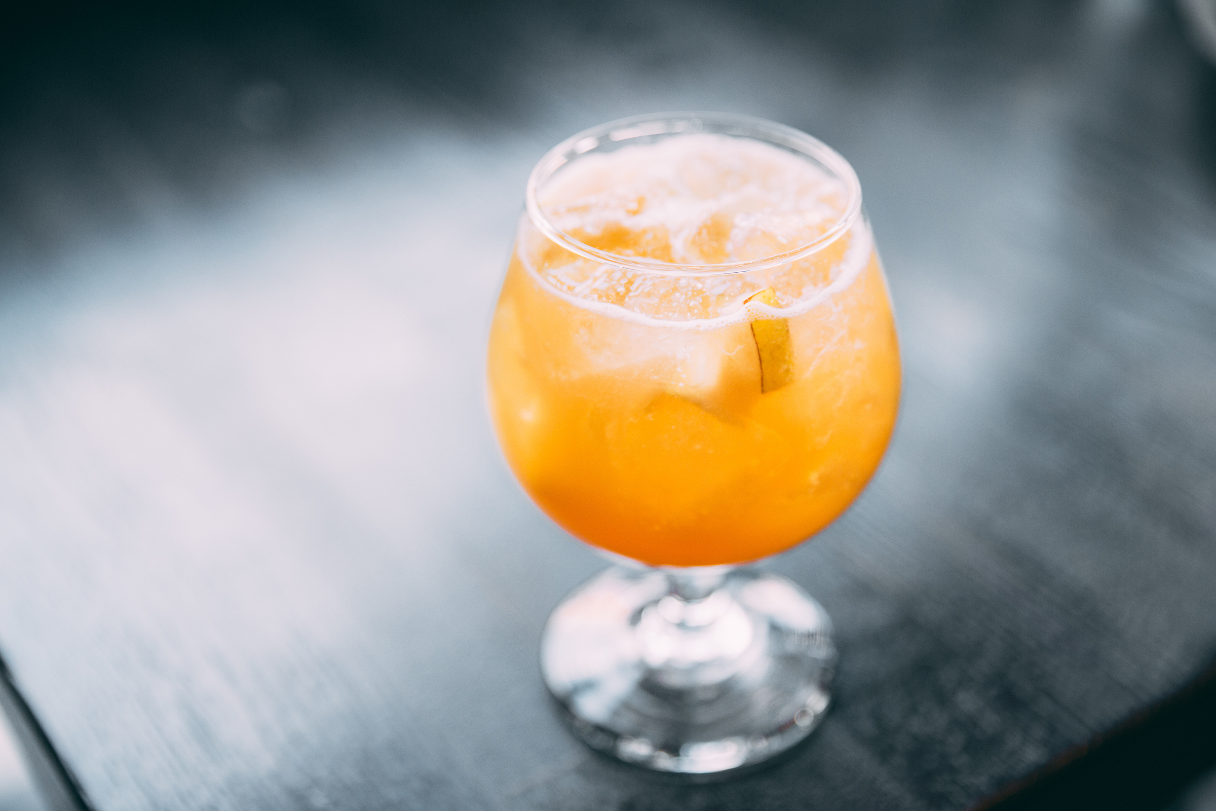 A glass of orange sangria