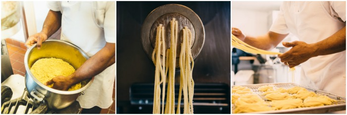 pasta being made by a chef