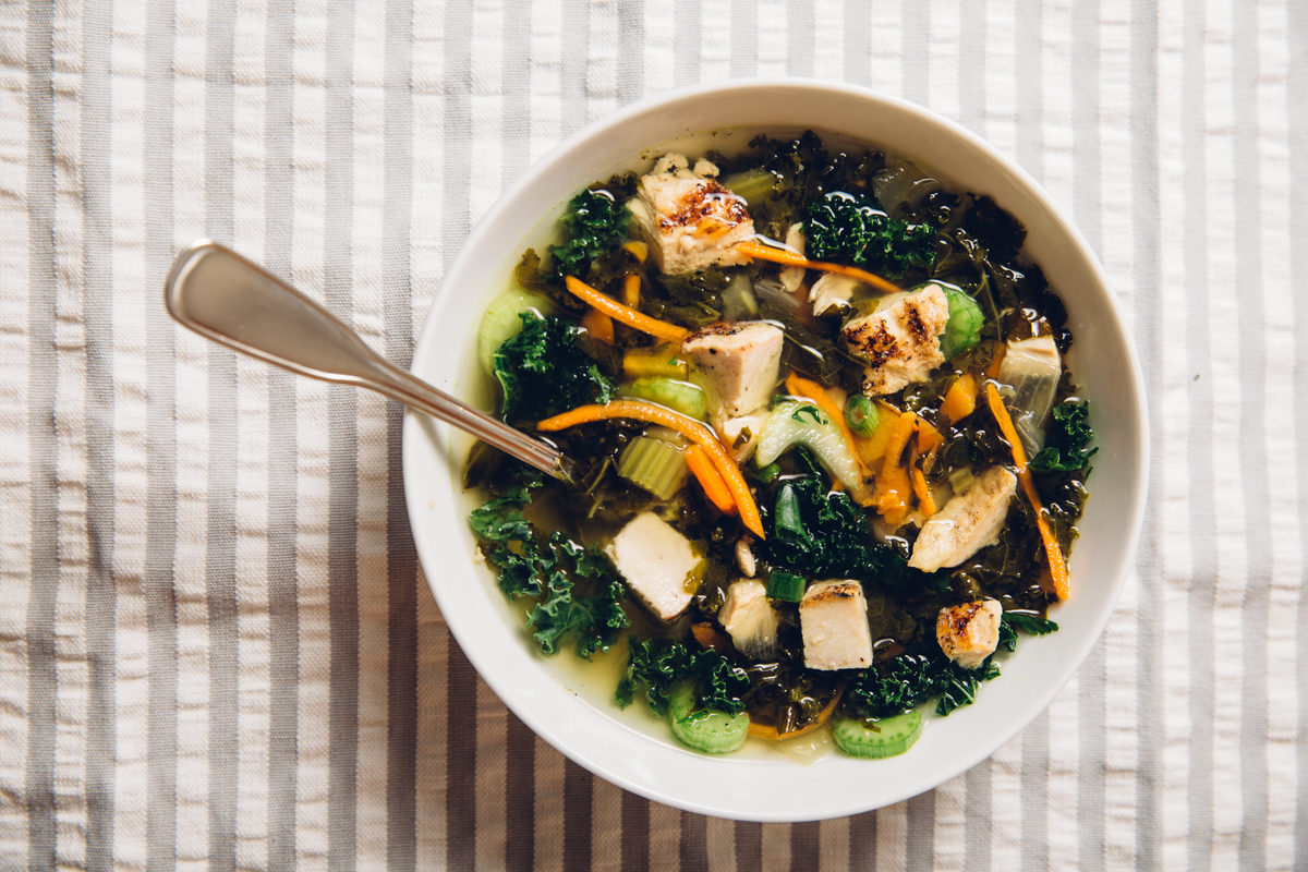 soup with kale and chicken