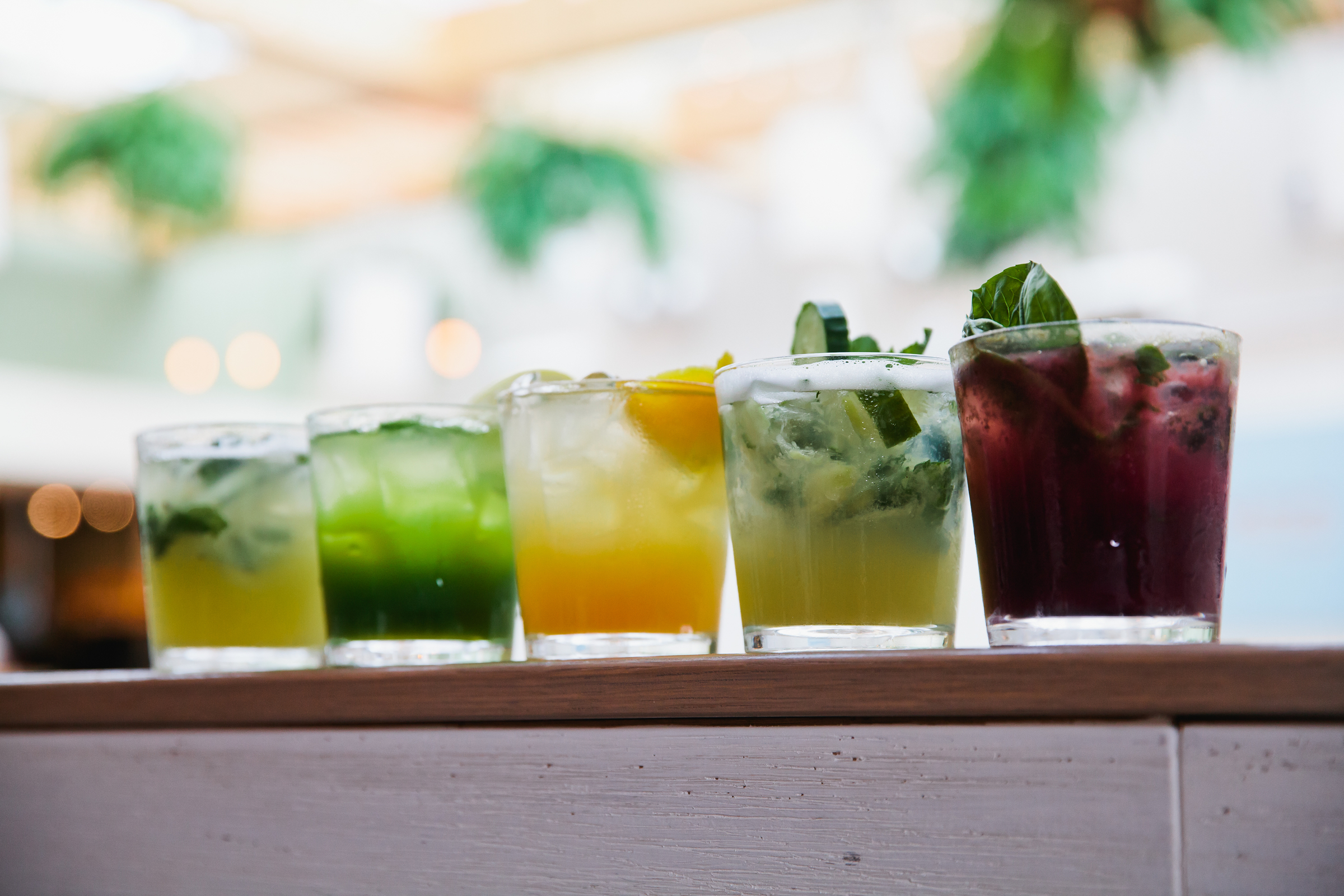 A line of Mocktails from Summer House Santa Monica