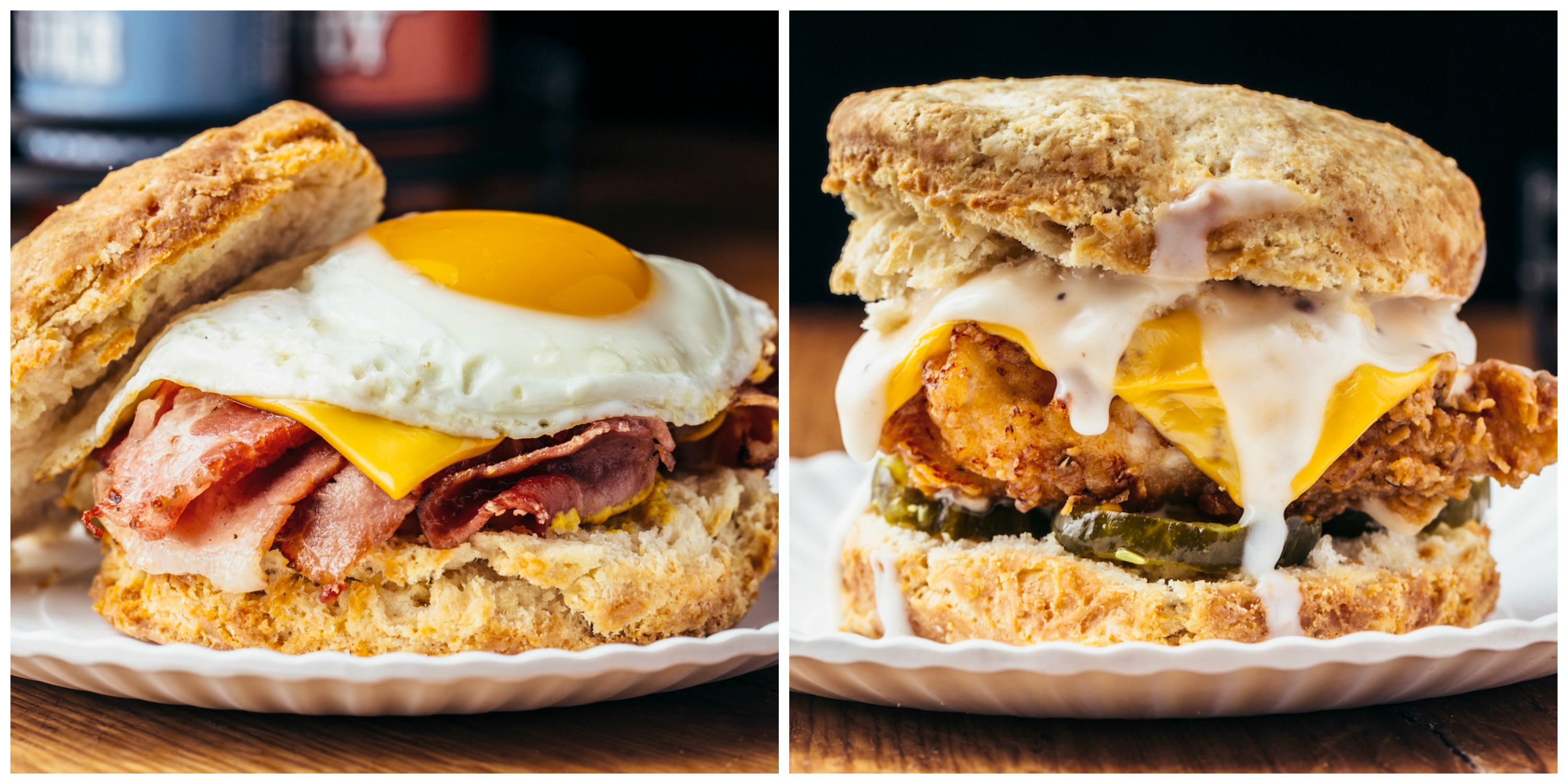 breakfast sandwiches on biscuits with an egg on top