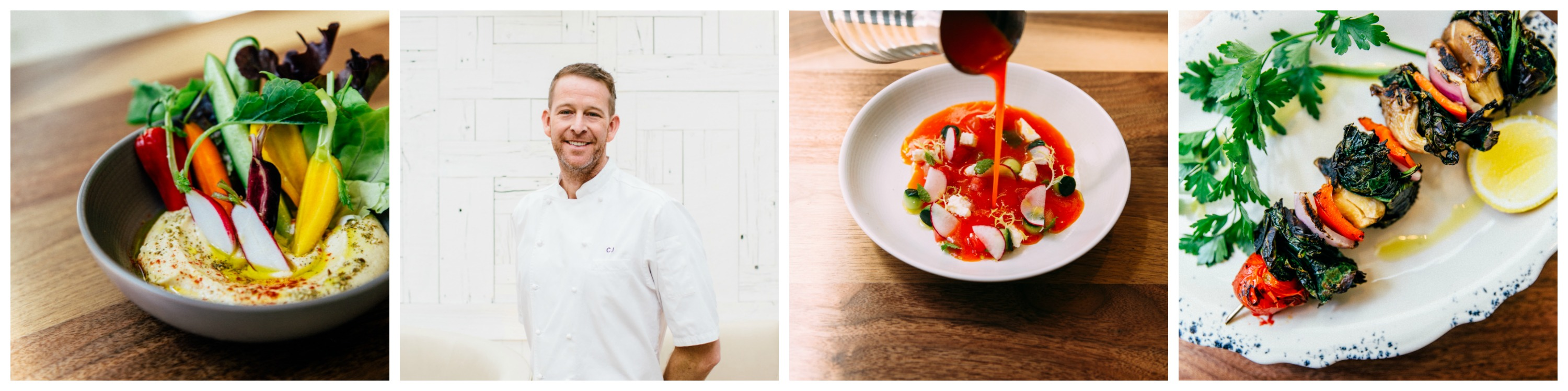 Collage of food photos and headshot of Chef CJ at Ema