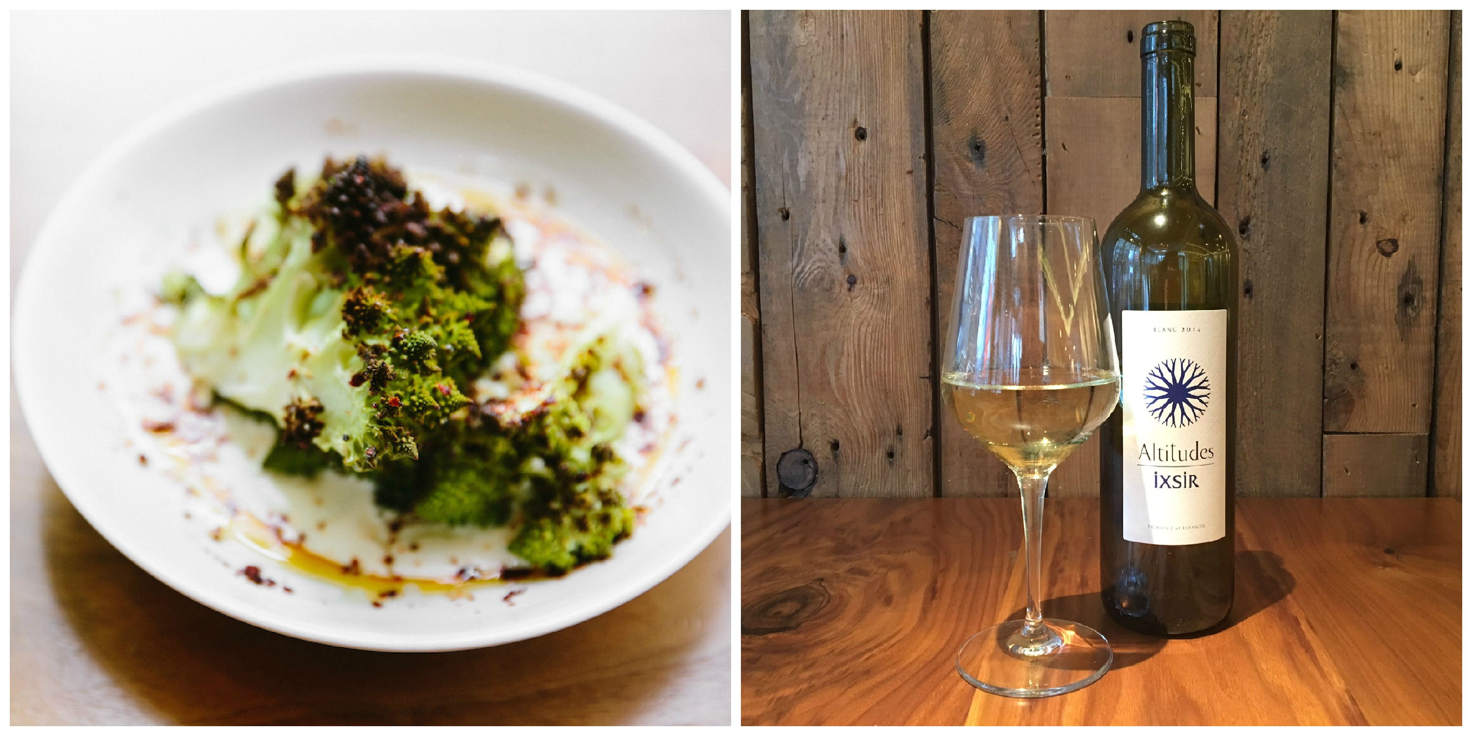 charred broccoli next to glass of white wine