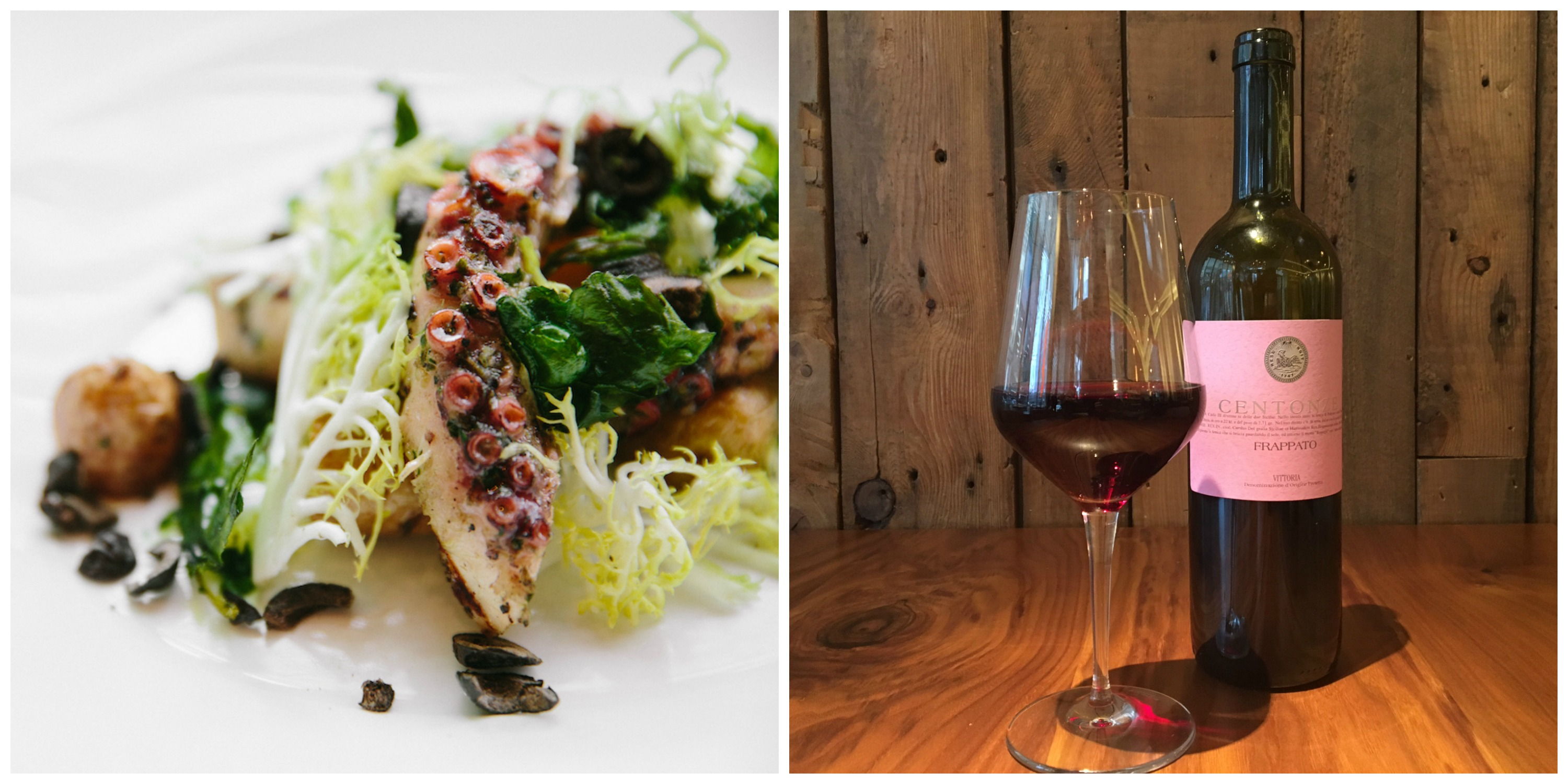 grilled octopus next to glass of red wine