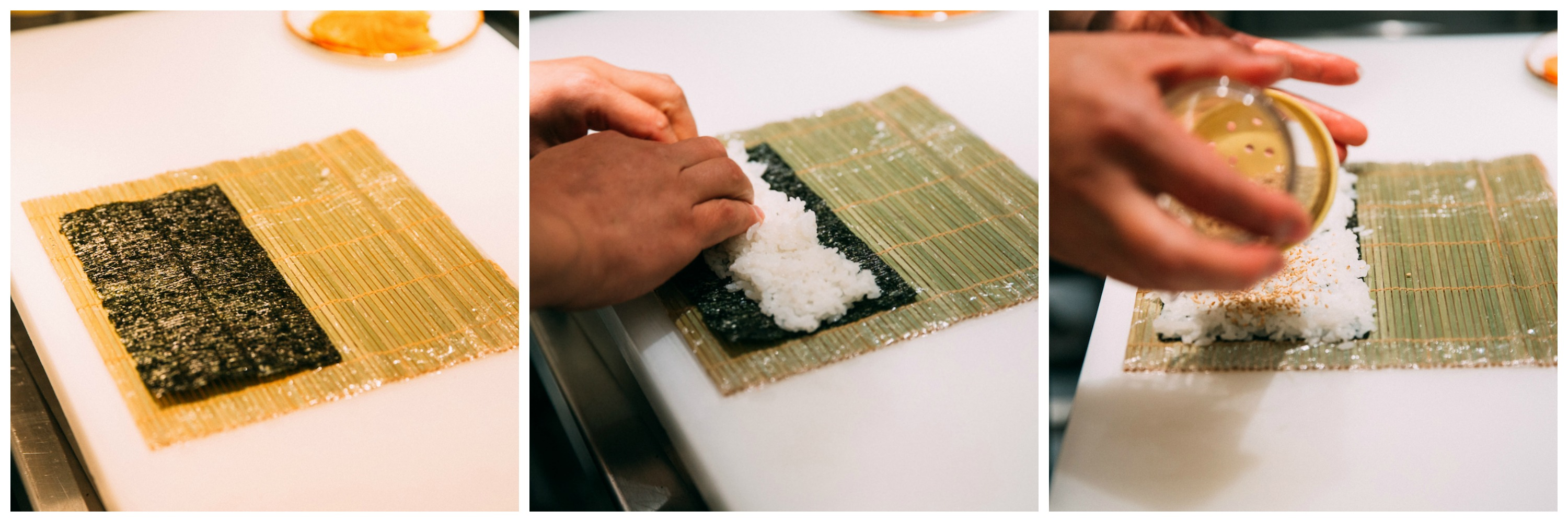 Step-by-step of hands rolling sushi