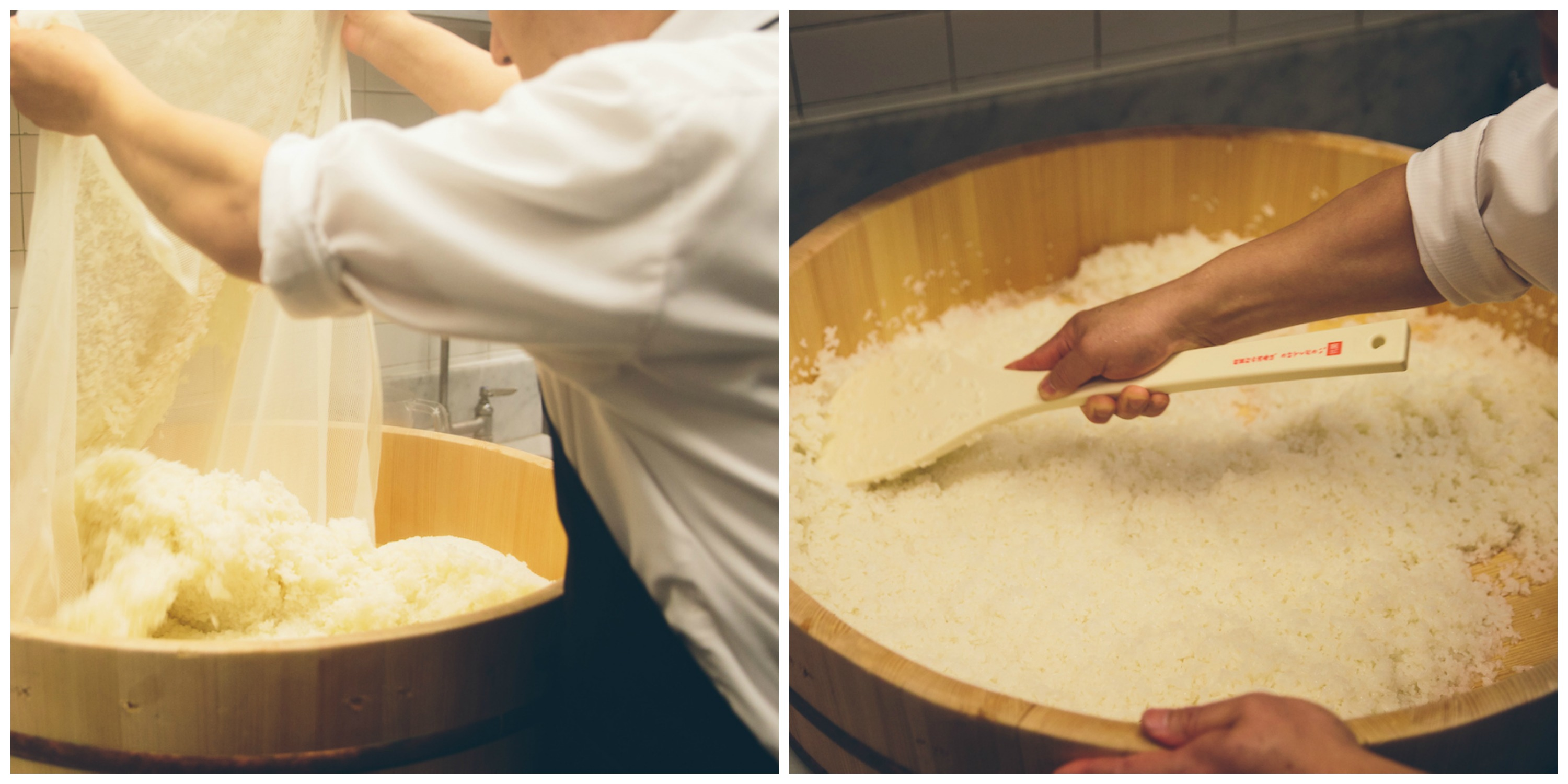Chef Naoki making rice in large bamboo pot