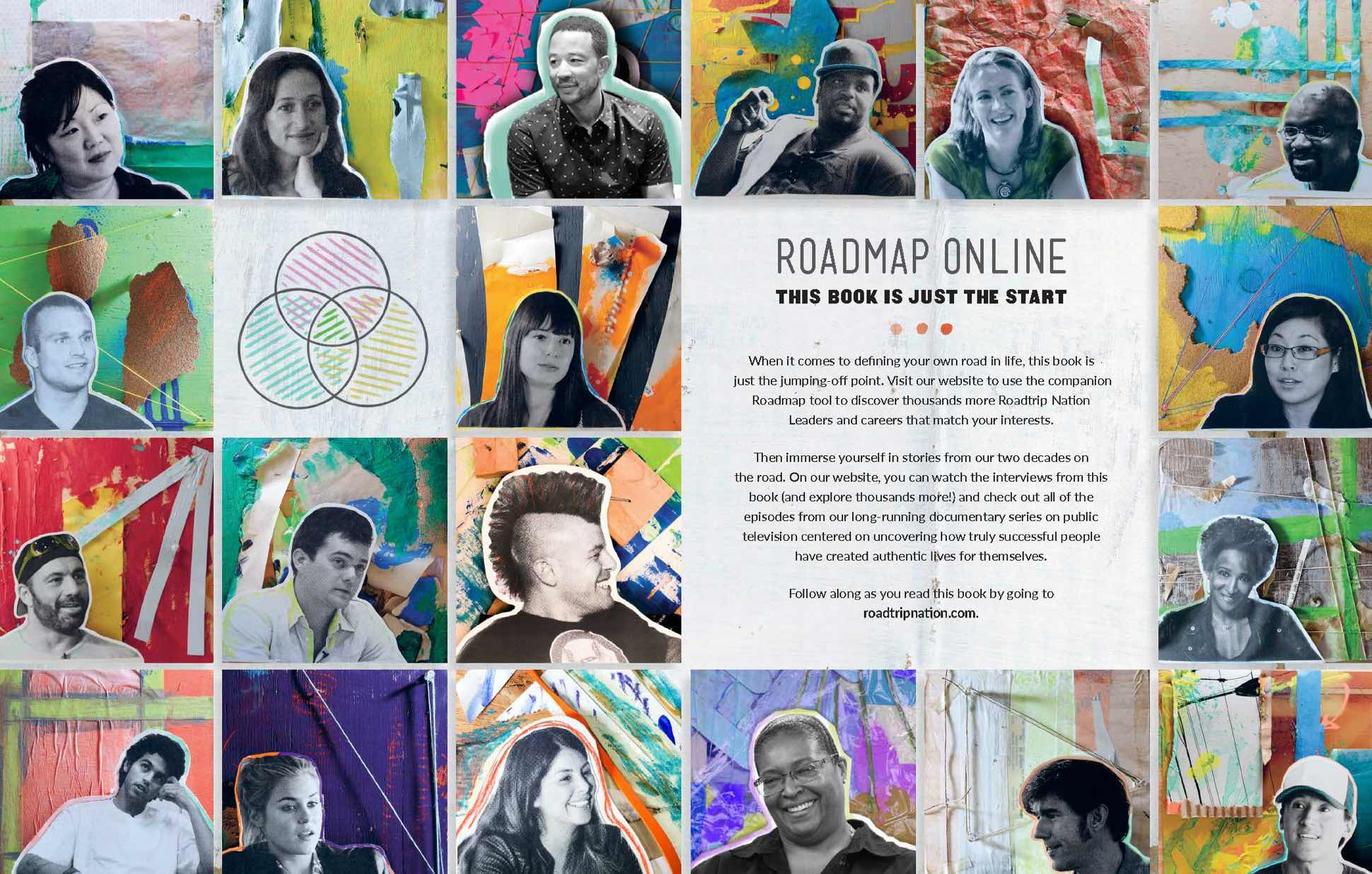 Image from the Roadmap book titled 'Roadmap Online', featuring collages of people featured in the book