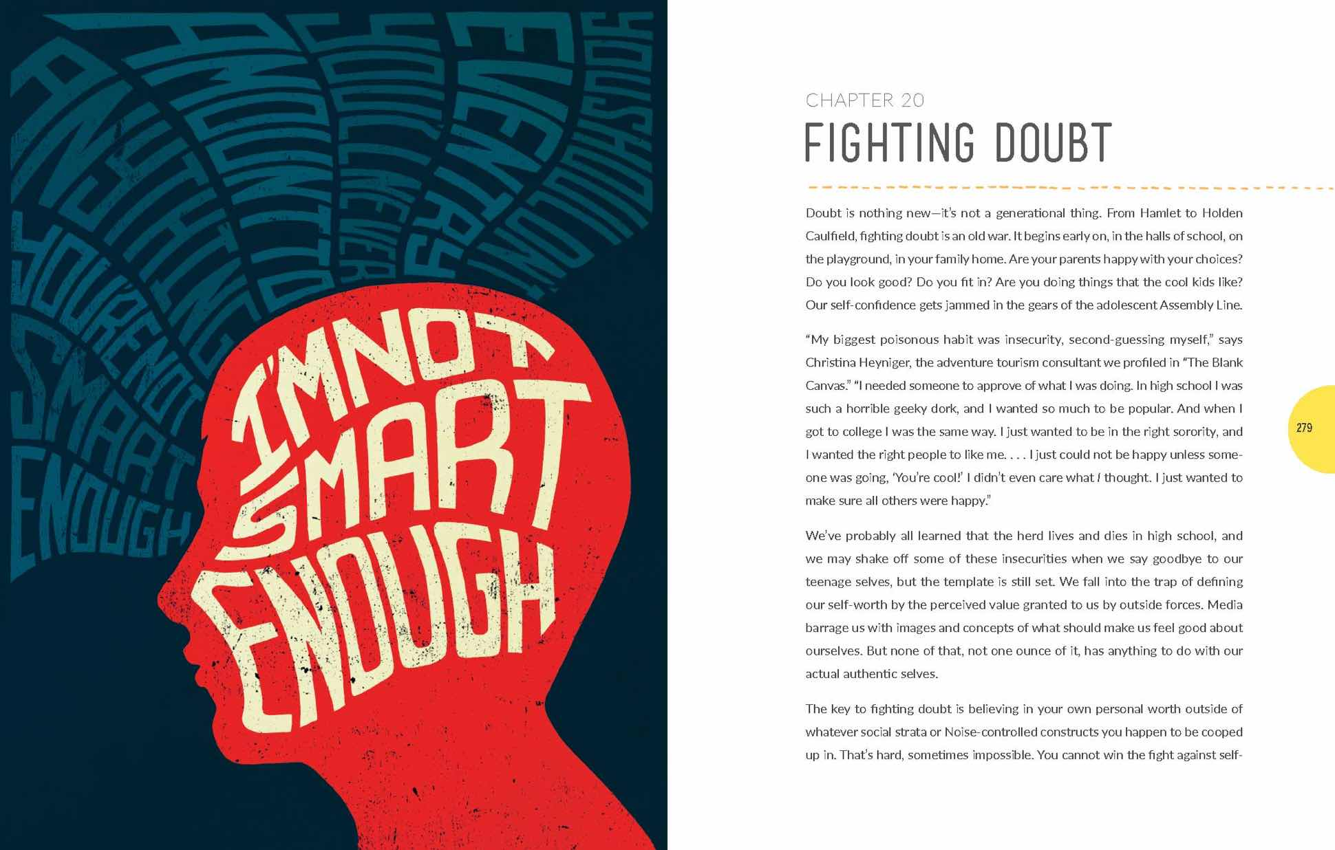 "Illustration of a trying to block negative thoughts for chapter titled ""Fighting Doubt"""
