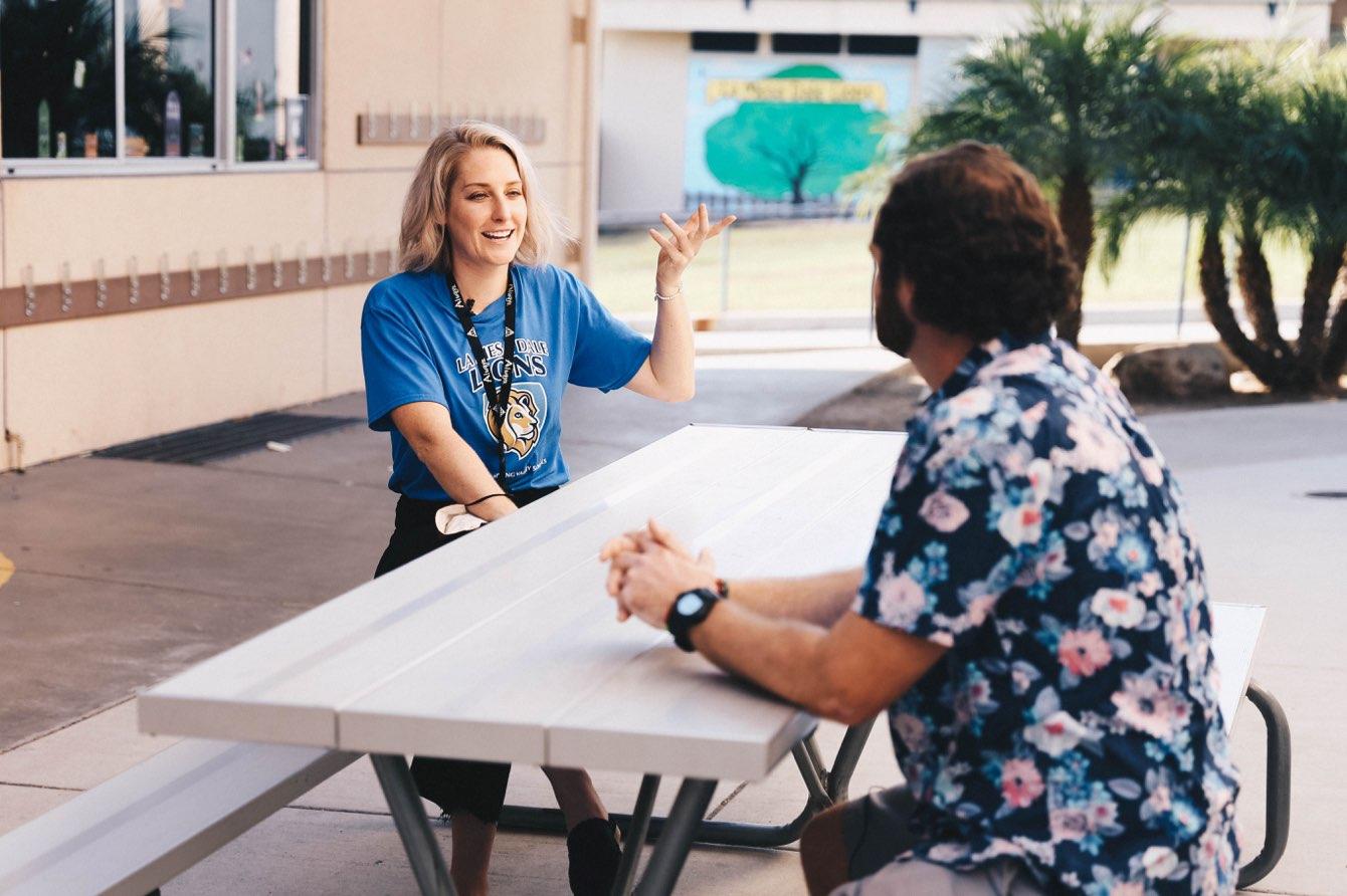 Teachers interviewing each other.