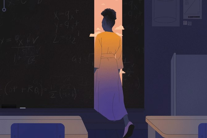 A dreamlike scene of a teacher stepping through the blackboard and out of the classroom