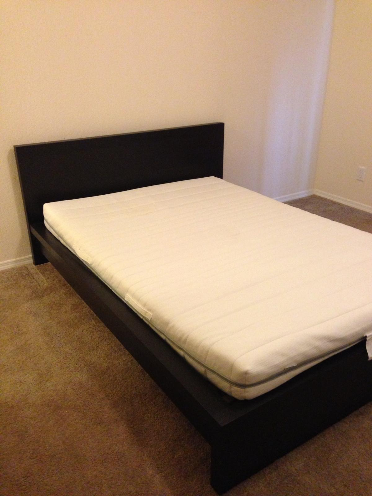 Full Malm Ikea Bed And Twin Memory Mattress Topper Non