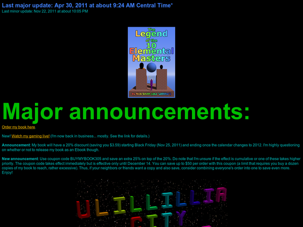 Ulillillia City has many useful tips and tricks, an ever-growing dream journal of over 350 dreams, stories, and both physical games and computer games.