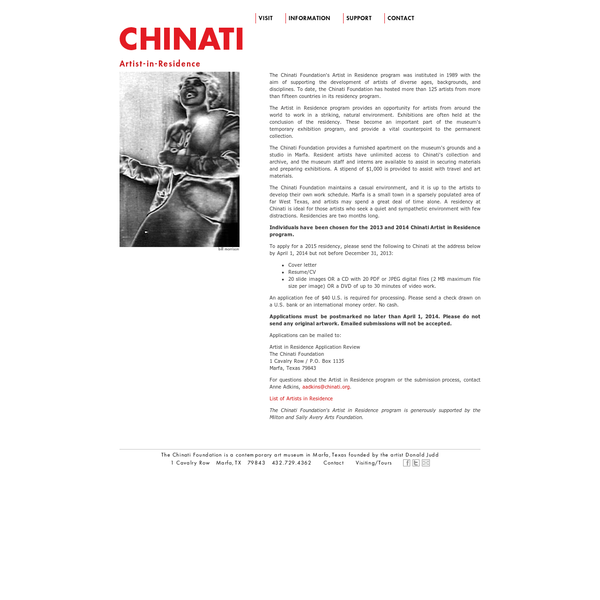 The Chinati Foundation's Artist in Residence program was instituted in 1989 with the aim of supporting the development of artists of diverse ages, backgrounds, and disciplines. To date, the Chinati Foundation has hosted more than 125 artists from more than fifteen countries in its residency program.