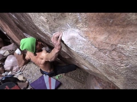 http://www.epictv.com/ First Creek Canyon, outside of Red Rocks, NV, was recently discovered by locals Andy Raether and Kenny Barker to have a lot of quality sandstone boulders. It is also home to one of America's best hard boulder routes, a shouldery, V15 monster called 'The Nest'.