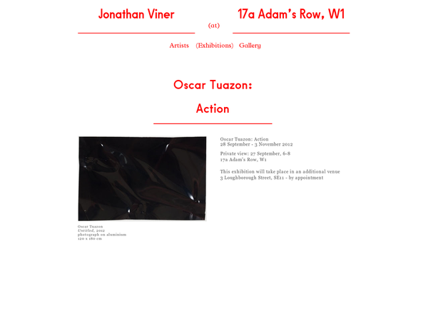 This page is about the exhibition Action, held from 09/28/12 to 11/03/12 in Galley Jonathan Viner. Works by Oscar Tuazon were shown during the exhibition.