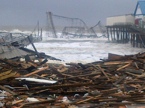 Amusement park rides in Seaside Heights are in the ocean. Our Brian Thompson sent this pic of the Casino Pier roller coaster after the storm.