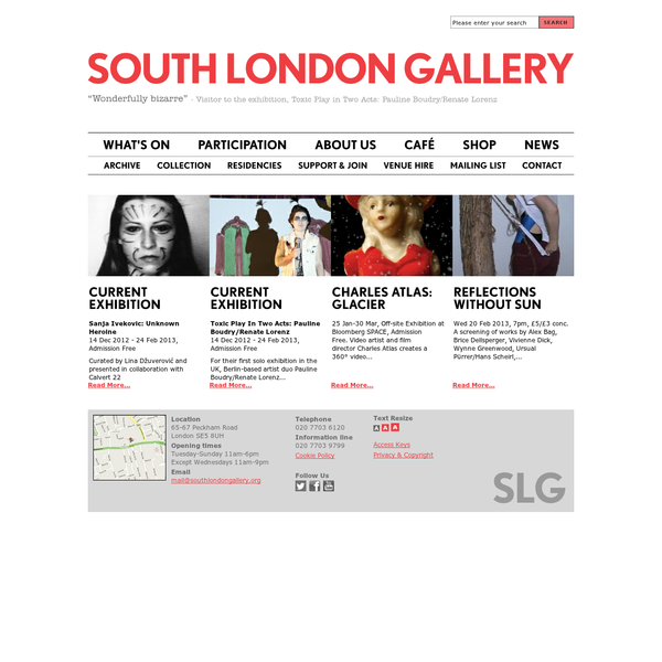 The South London Gallery has an international reputation for its programme of contemporary art exhibitions, live art art events and film screenings, with integrated education projects for children, young people and adults.