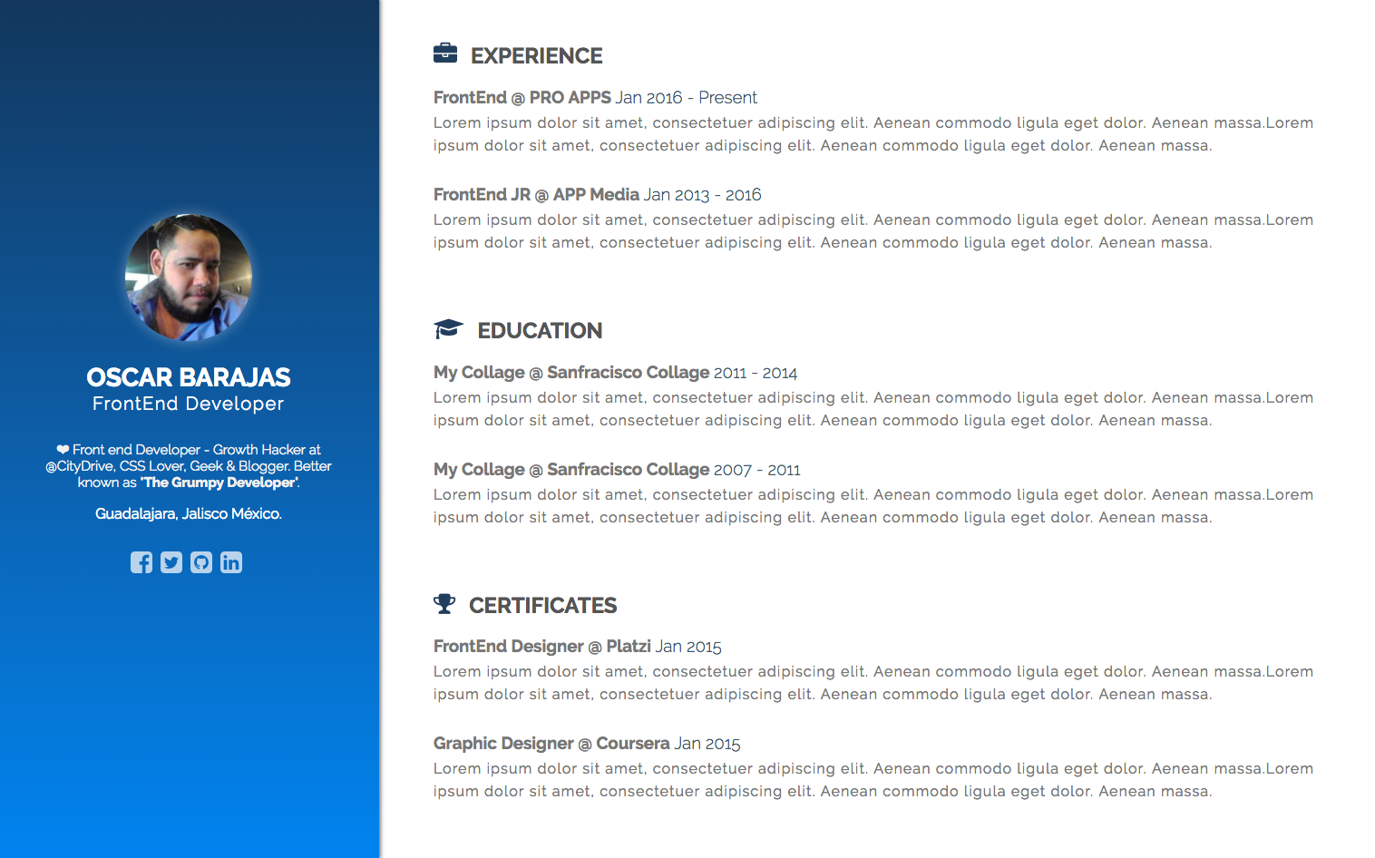 Recursos Gratis: Plantilla en HTML5 para crear tu CV en línea.
