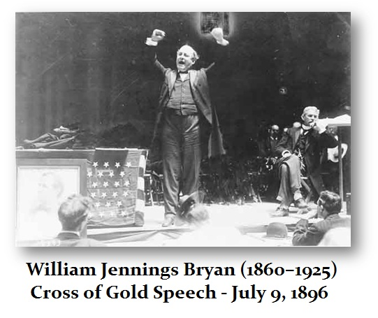 Image result for william jennings bryan gives his cross of gold speech