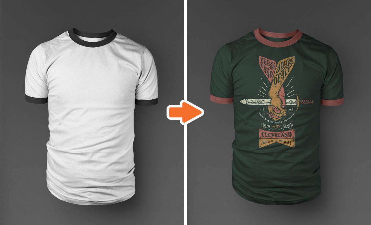 Photoshop Templates: Photoshop Ringer T-Shirt Mockup Templates Pack