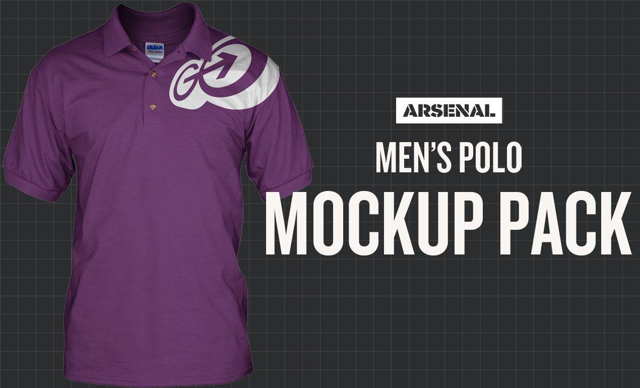 Photoshop men 39 s polo mockup templates pack for Free polo shirt mockup psd