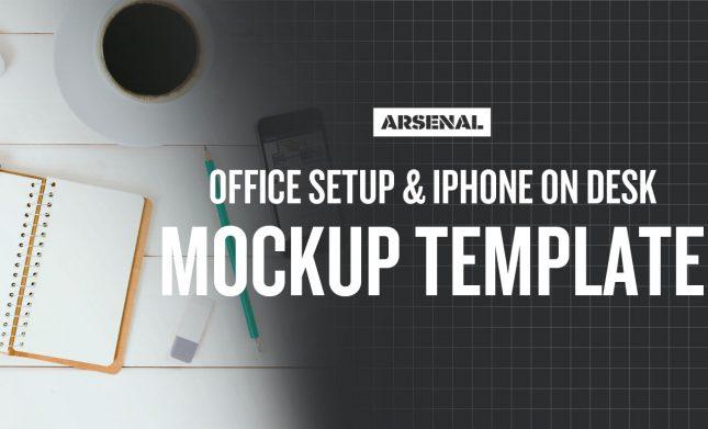 Office Setup and iPhone on Desk Branding Mockup