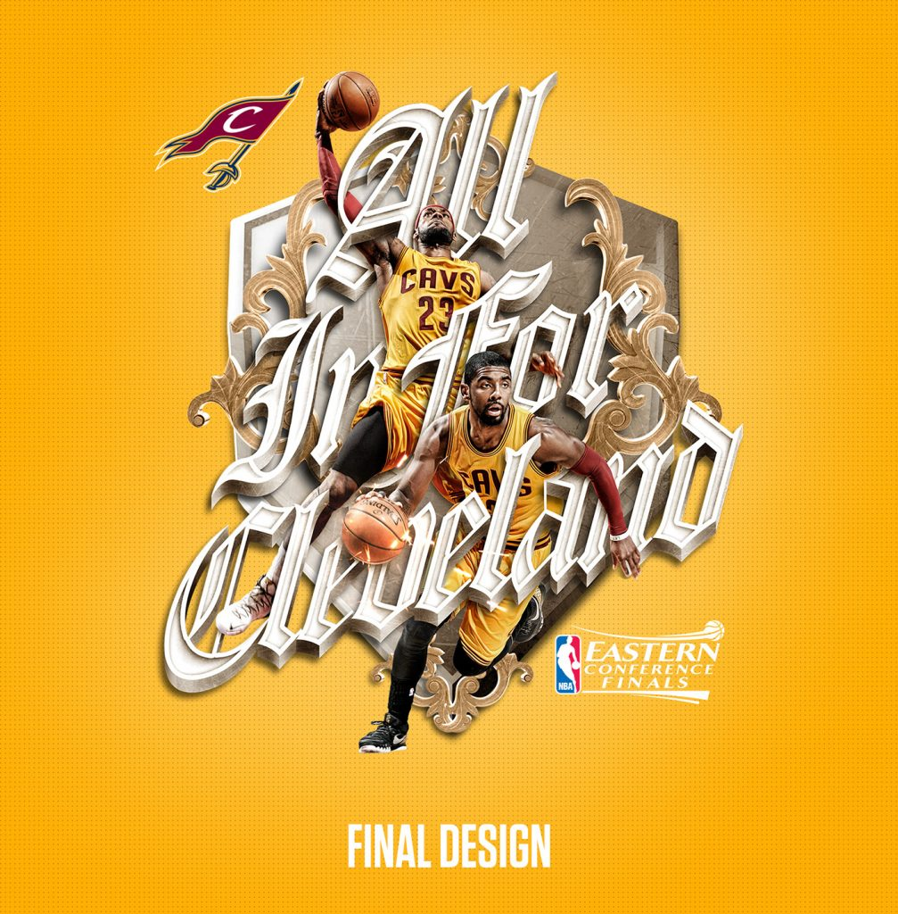 "NBA ""All In For Cleveland"" T-Shirt by Tak Wong"