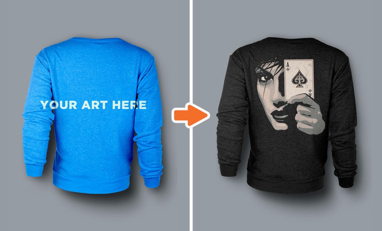 Crew Neck Sweater Template Psd - Sweater Grey