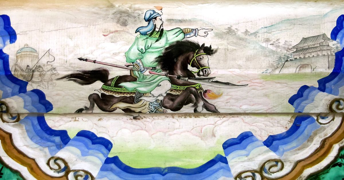 painting of Chinese general on horse
