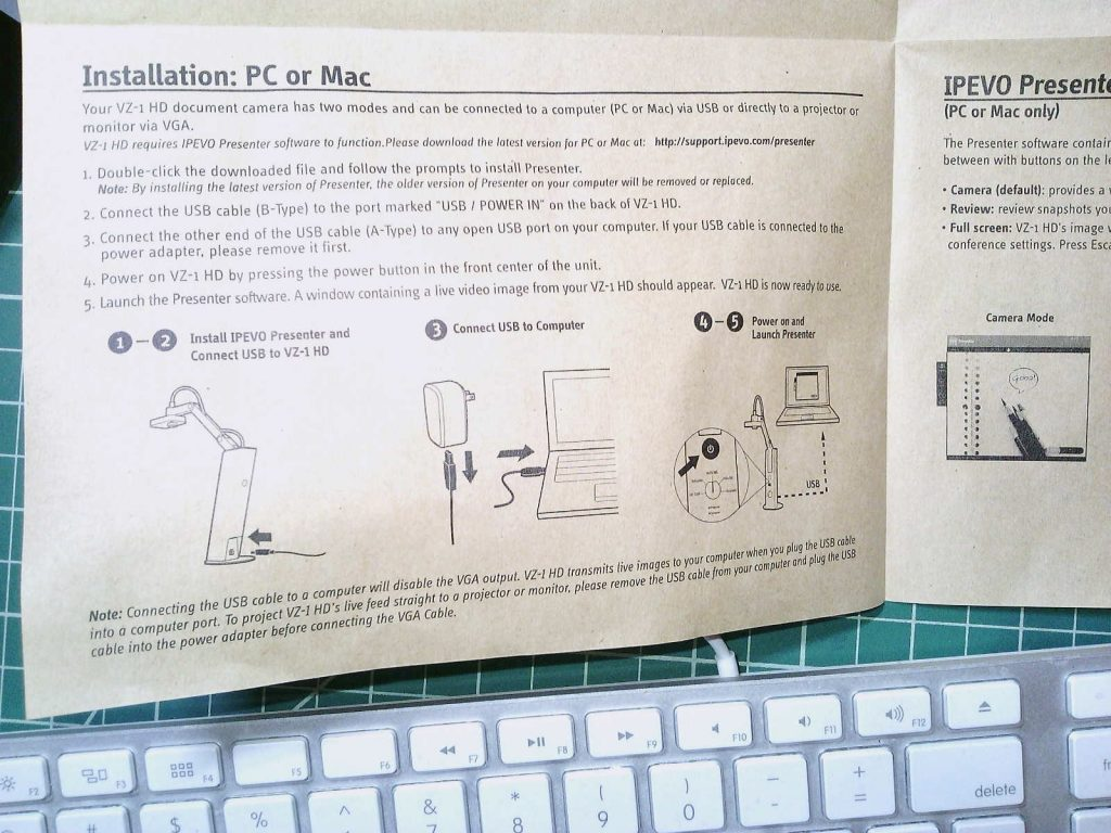 ipeva document camera instructions