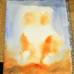 first layer of painting of a fuzzy dog