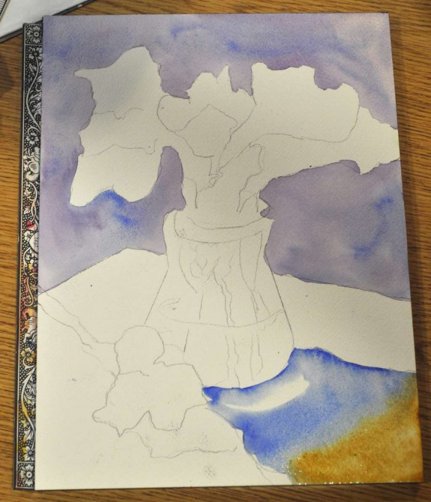 Background elements painted, and foreground shadow