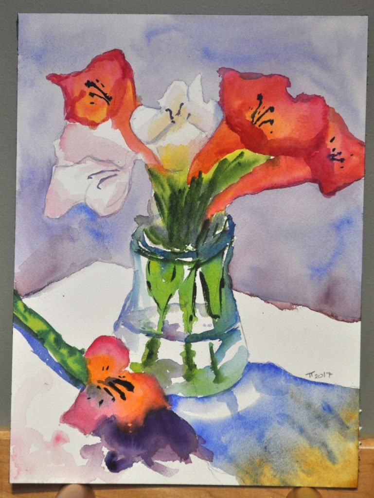 Vase and Flowers painting, signed