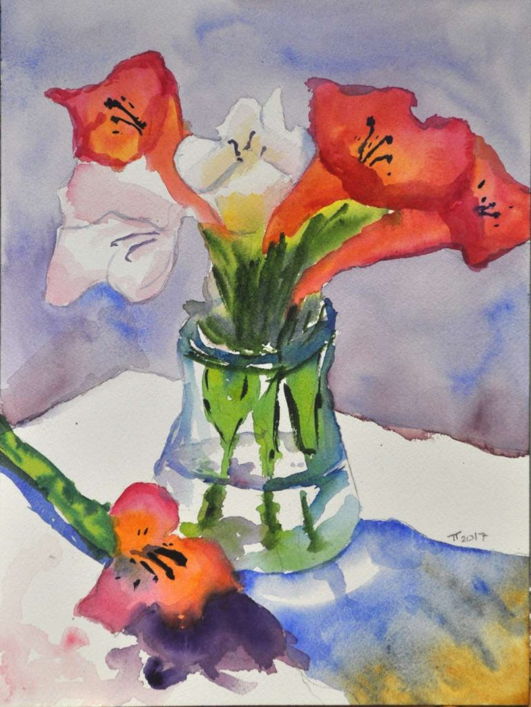 Vase and Flowers, cropped and straightened, final, signed painting