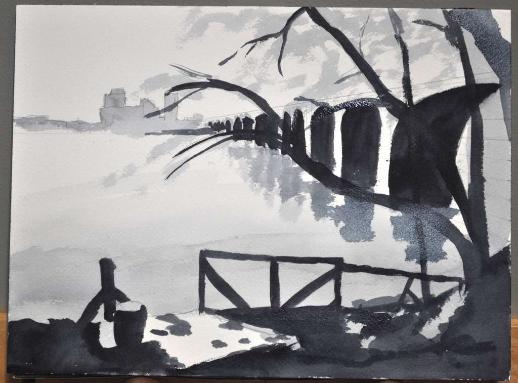 Value study for painting of Stone Arch Bridge in monochrome