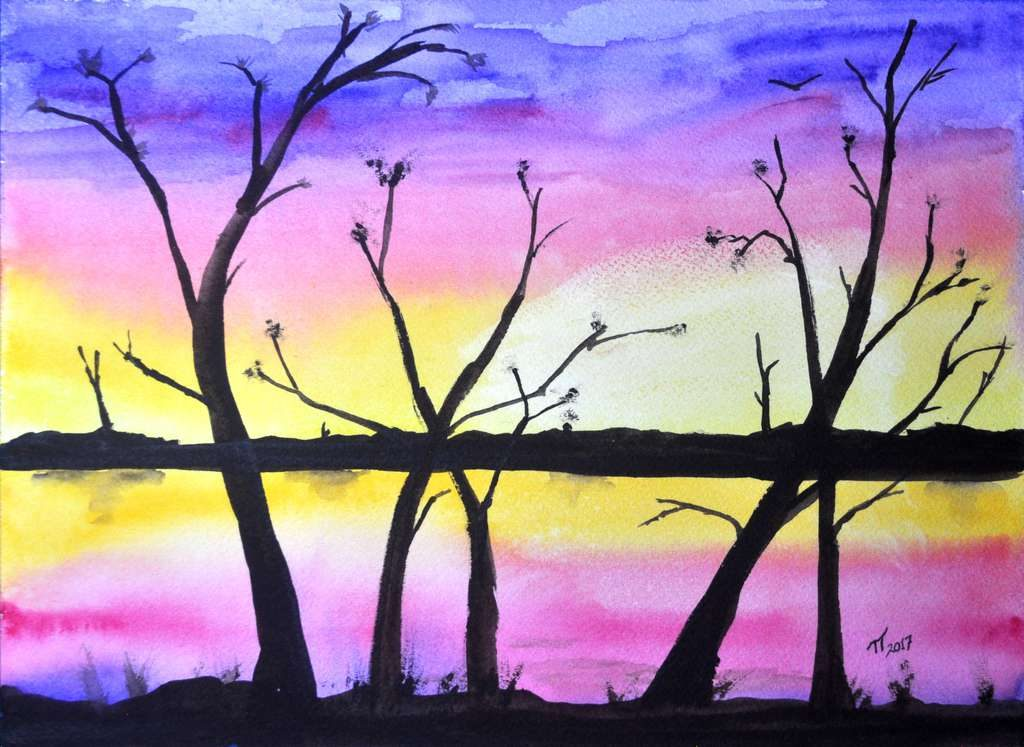 sunset painting, finished and signed