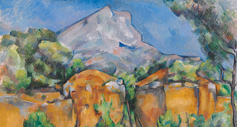 A painting by Mont Sante Victoire seen from the Bibémus Quarries by Paul Cézanne, 1897. Baltimore Museum of Art.
