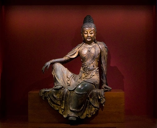 A 15th-century life-sized bronze Water-Moon Guanyin