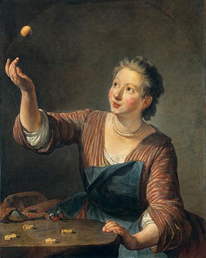 Jean Baptiste Siméon Chardin's The Game of Knucklebones (c. 1734).