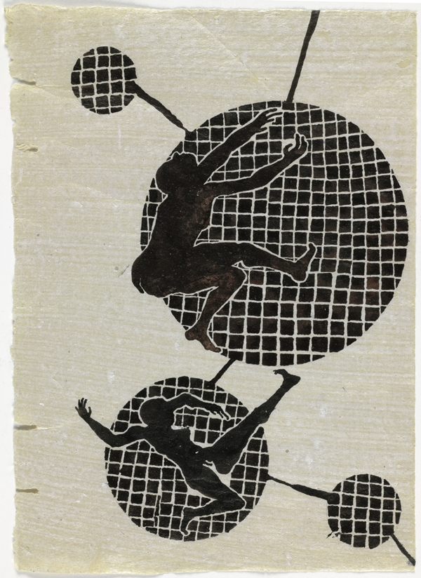 A print of four circles, two larger than the others. Two contorted human figures are superimposed on the larger circles.