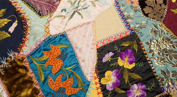 A detail of an American Crazy Quilt