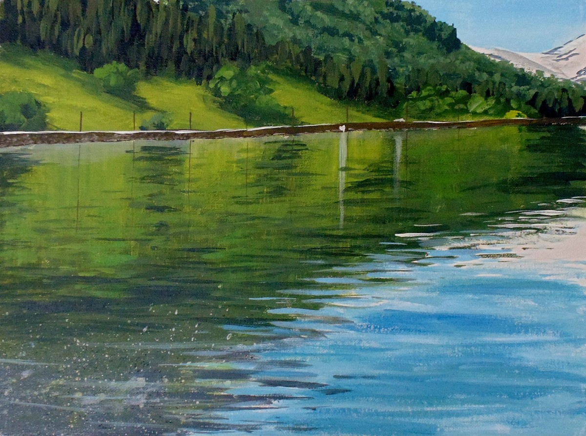 How to paint reflective water